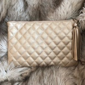 Handbags - Gold Quilted Faux Leather Clutch